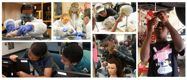 collage of children exploring programs at MCC, including dissecting, computers, anatomy, hair dressing, and automotive repair