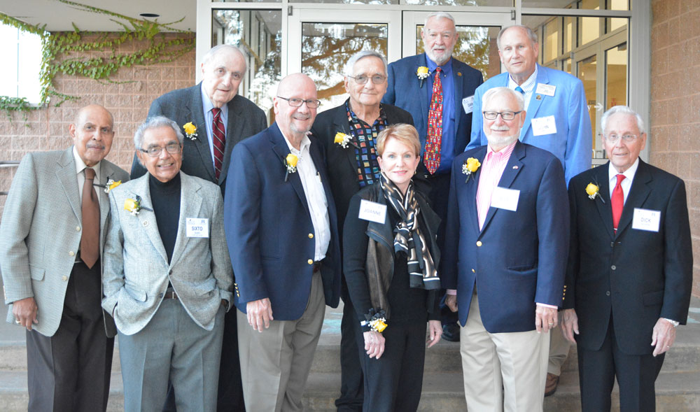 Featured are past Distinguished Alumni Award recipients in attendance, L-R: Ezra Artis, Sixto Olivo, Judge Thomas C. Yeotis, Jimmy King, Julius Shaw, JoAnne Shaw, Dan Cady, Judge Robert Ransom, John Krupp, CPA, Dr. Richard Shick