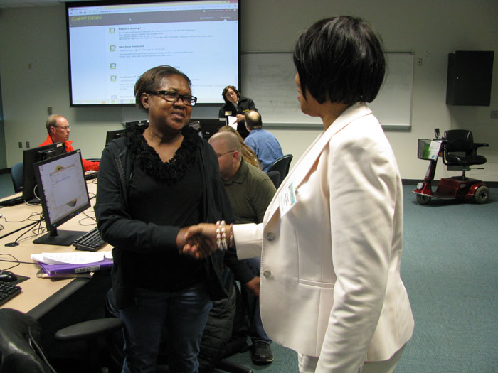 Dr. Beverly meeting with student