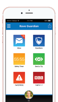 iphone with Rave Guardian App