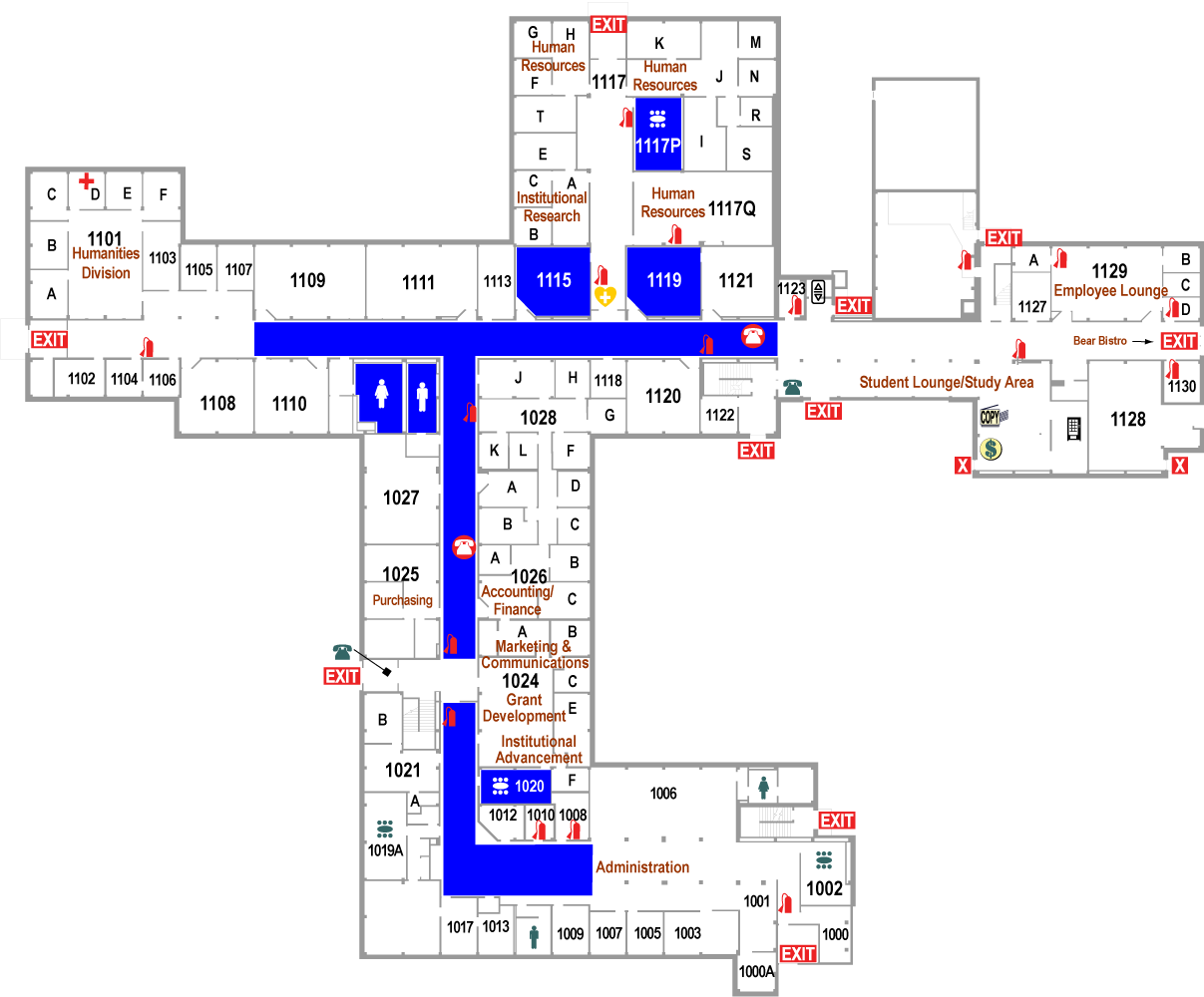 Curtice-Mott Complex First Floor West Floorplan Map