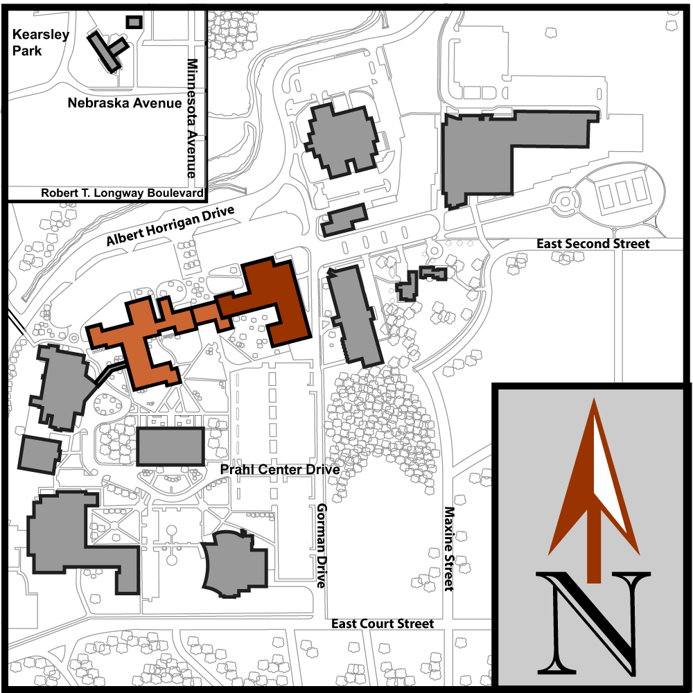Main Campus Flint Aerial Map with Curtice-Mott Complex highlighted