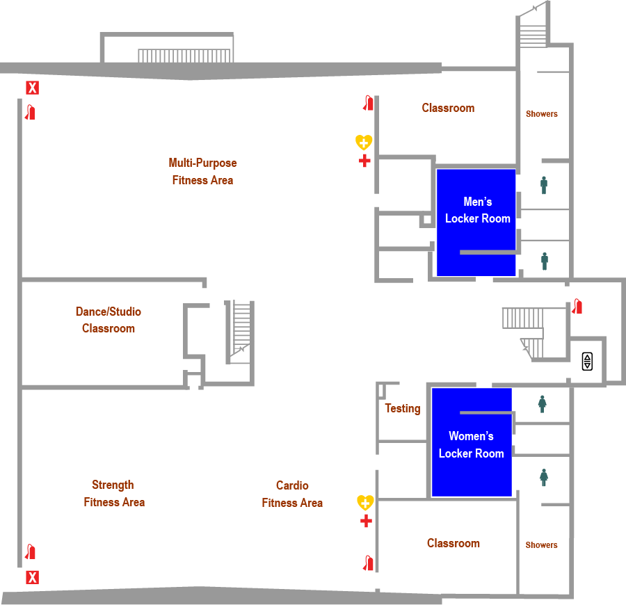 Durham Wellness and Physical Education Center Lower Level Floorplan Map