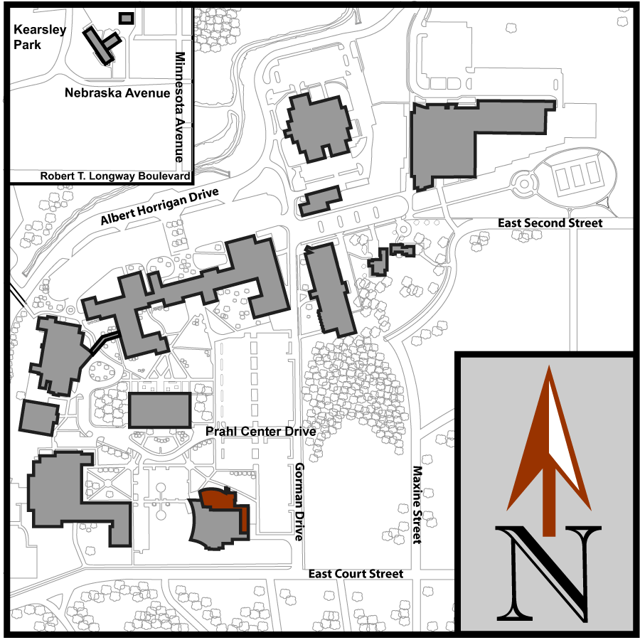 Main Campus Flint Aerial Map with Event Center highlighted