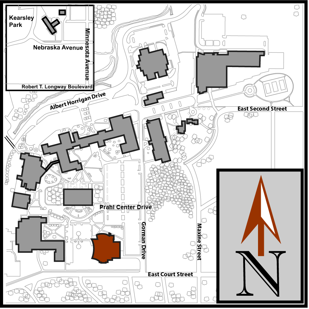 Main Campus Flint Aerial Map with Mott Library highlighted