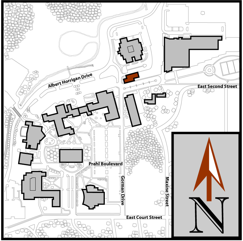 Main Campus Flint Aerial Map with Public Safety highlighted